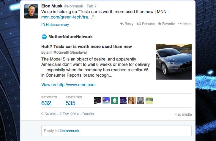 ElonMusk Tweets About iSeeCars Study