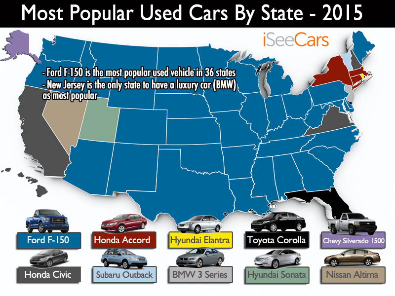 The Most Popular Used Car In Each State - Best selling car in us map