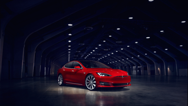2016 Tesla Model S-red-tunnel