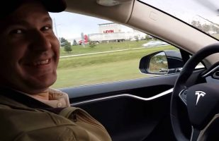Joshua Brown in Tesla Model S-image from Oct 15 YouTube Video