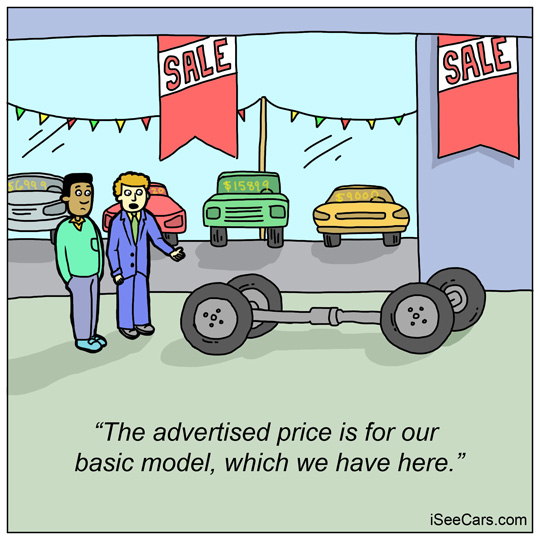 Car dealership advertised deals price for base model funny comic