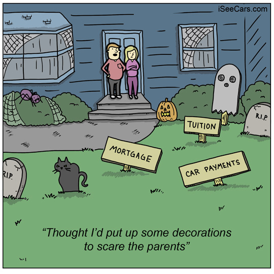 Scary Halloween decorations finances mortgage tuition car payments funny comics