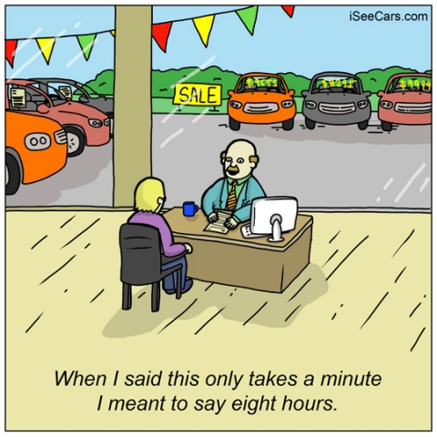 How long do you have to wait at car dealerships funny comic