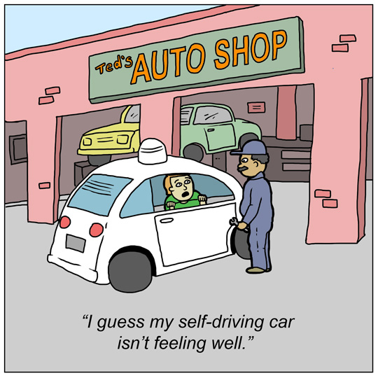 Self-driving autonomous car drives itself to mechanic for repairs funny comics