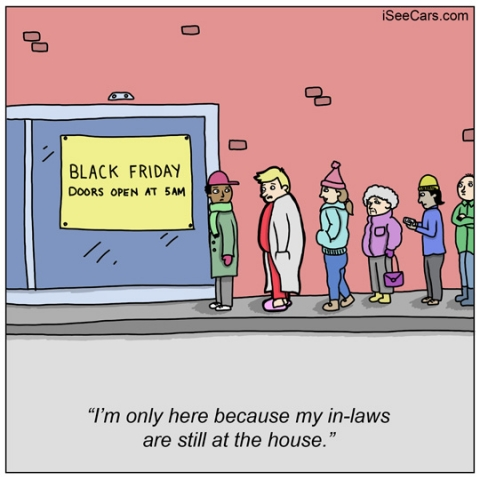 Waiting in line early for black friday sales deals to avoid in-laws funny comics