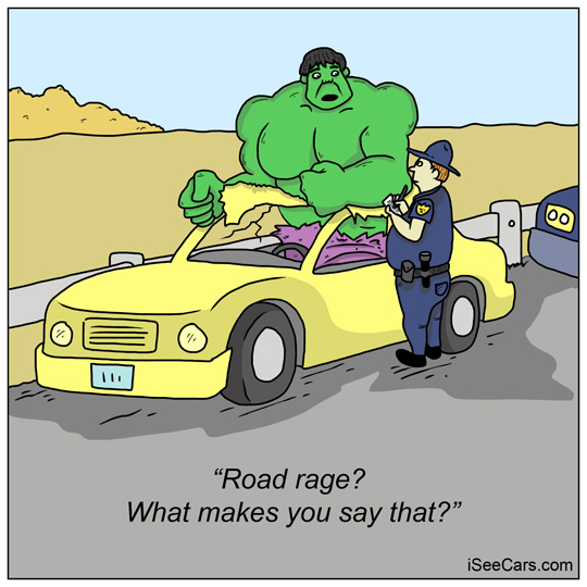 Incredible Hulk gets pulled over in a car for road rage funny comic