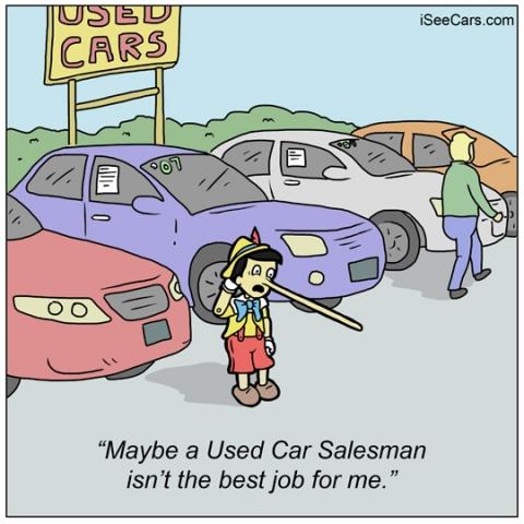 iSeeCars.com funny comic Pinocchio used car salesman