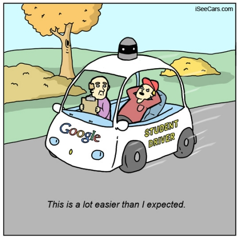 Autonomous self-driving cars and student drivers ed funny comic
