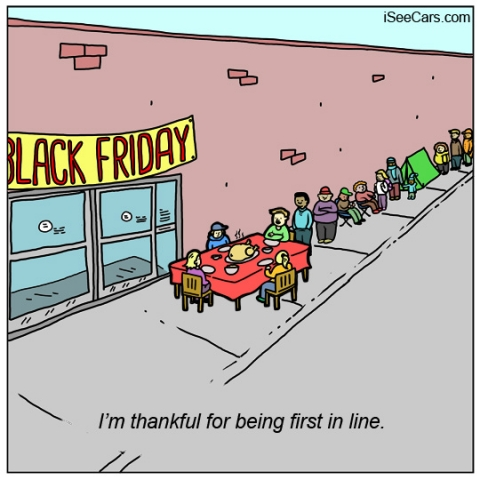 Eating Thanksgiving dinner waiting in line for Black Friday deals sales funny comic
