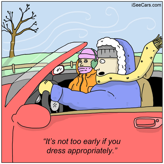 Top down convertible driving car in winter funny comic