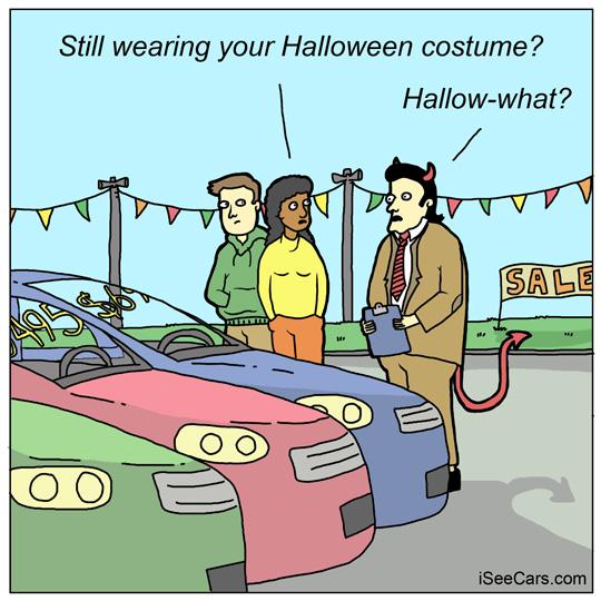 Car dealerships salesman devil not a Halloween costume funny comic