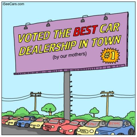 Car dealership billboard false advertising funny comic