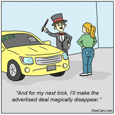 Car dealership salesperson makes advertised deal disappear funny comic