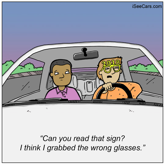 New Year's Eve glasses driving funny comic
