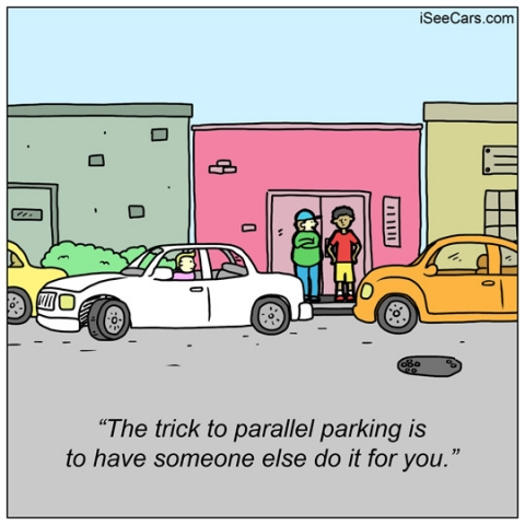 Have someone else parallel parking your car for you funny comic