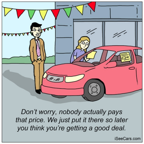 Paying more than advertised sticker price at car dealership funny comics