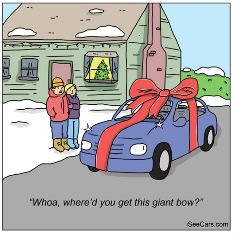 Giving getting a car with bow for Christmas present funny comic