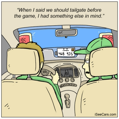 Tailgating in a car funny comic