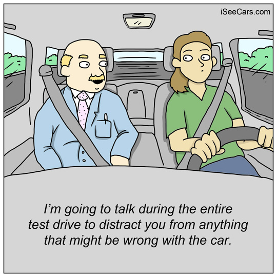 Car salesman talking nonstop during the test drive funny comic