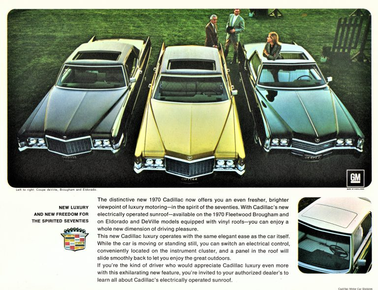 This 1970 Cadillac Deville advertisement shows off the luxury of a factory power sunroof,.
