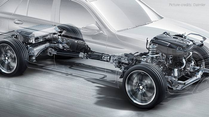 This cutaway shows the powertrain components of a modern all-wheel drive crossover.
